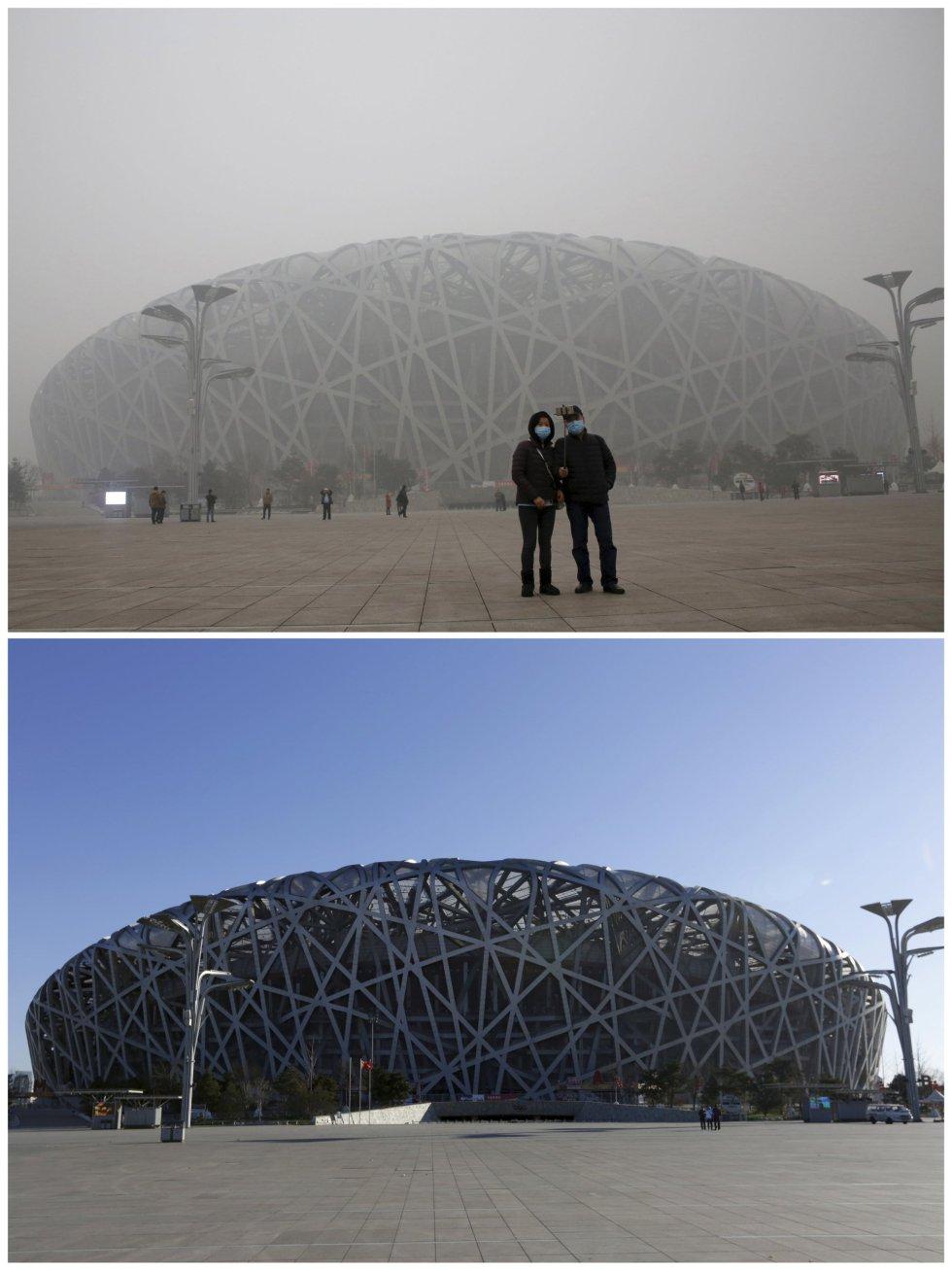 El estadio Nacional ('Nido de pájaro'), visto con contaminación y en un día soleado.