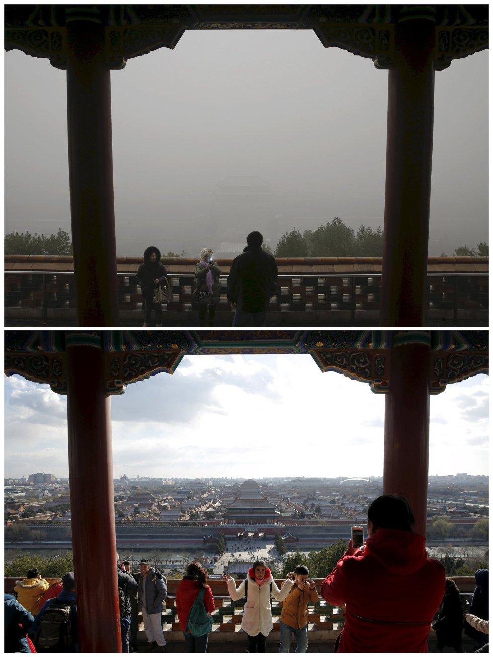Parque Jingshan (Ciudad Prohibida) con contaminación y en un día soleado.