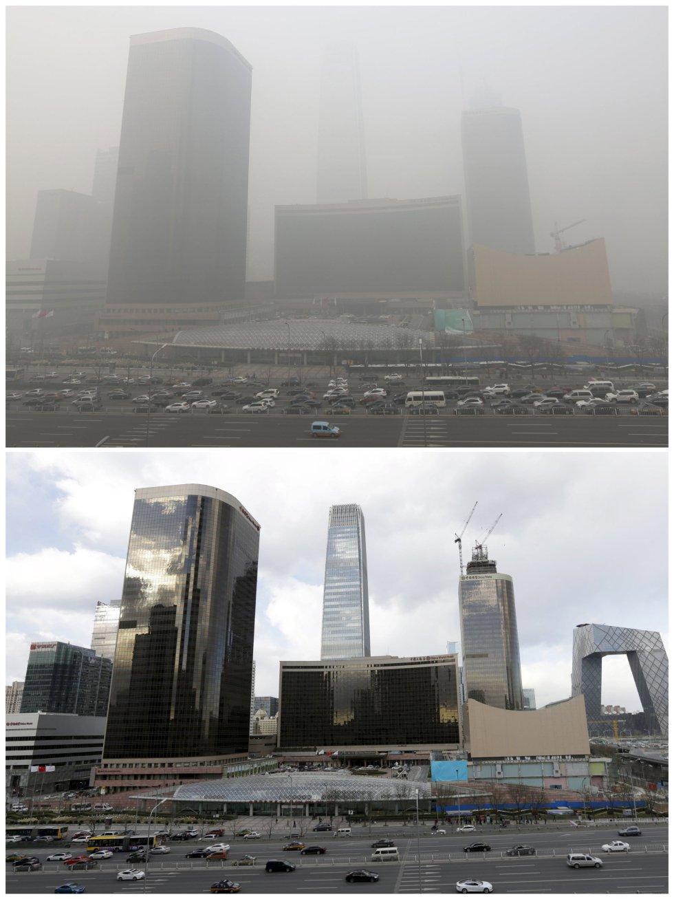 El distrito financiero de Pekín, bajo la contaminación y en un día soleado.