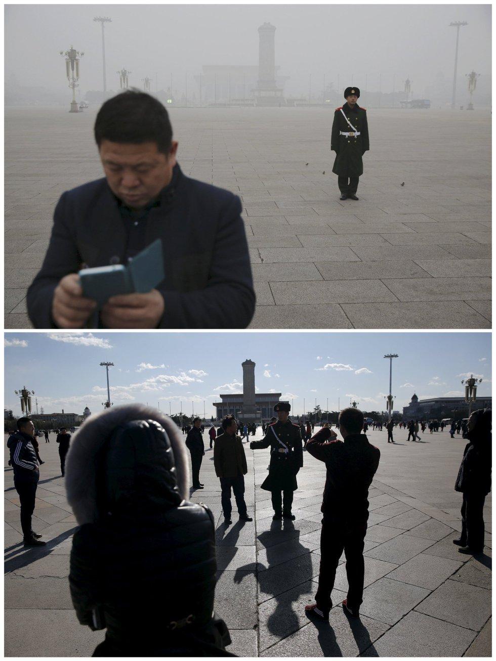 La plaza de Tiananmen, bajo la contaminación y en un día soleado.