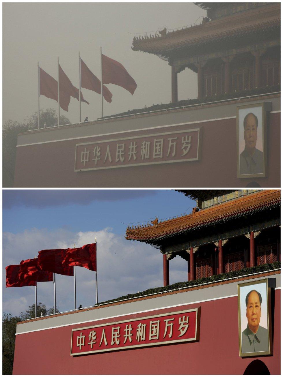El retrato gigante de Mao Zedong, en la plaza de Tiananmen, bajo la contaminación y en un día soleado.
