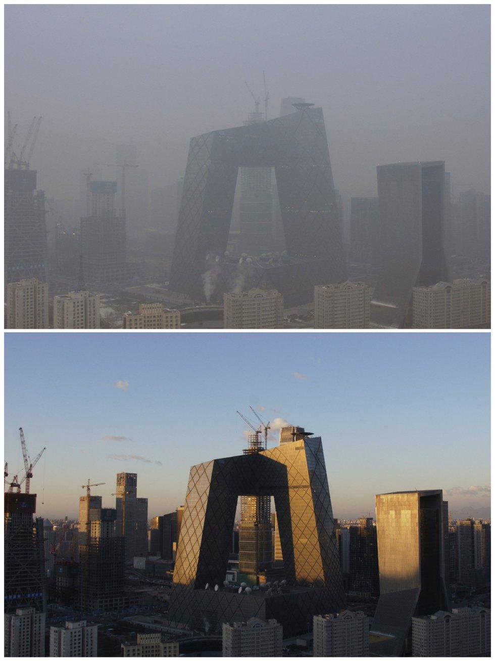 El edificio de la televisión china (CCTV) bajo la contaminación y en un día soleado.
