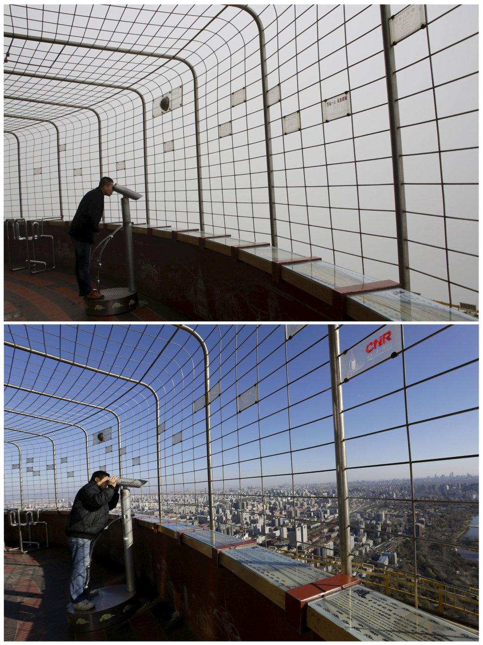 Vista de Pekín desde la torre de la Radio Televisión china, bajo la contaminación y en un día soleado.