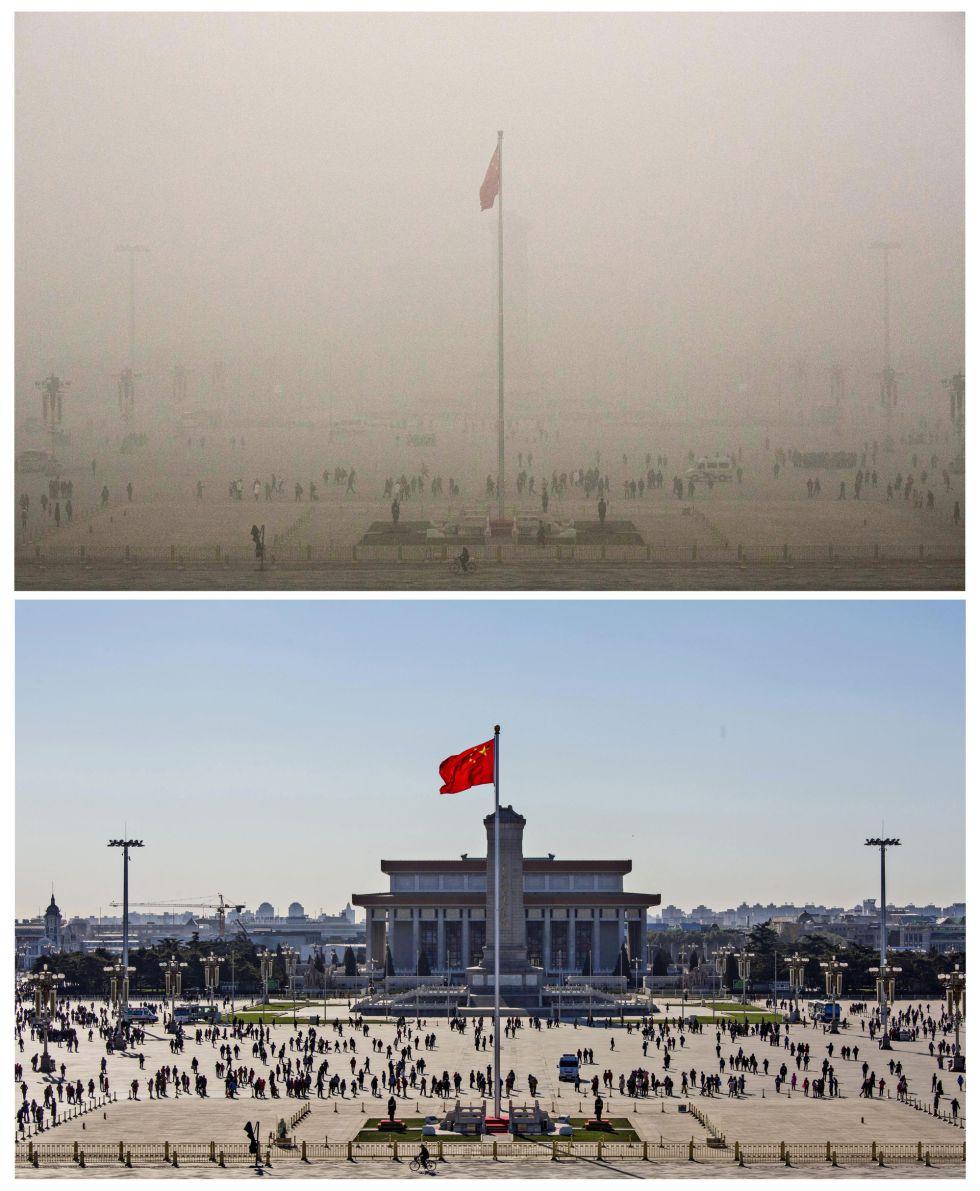 La bandera de China ondea en la Plaza Tiannanmen de bajo la contaminación y en un día soleado.