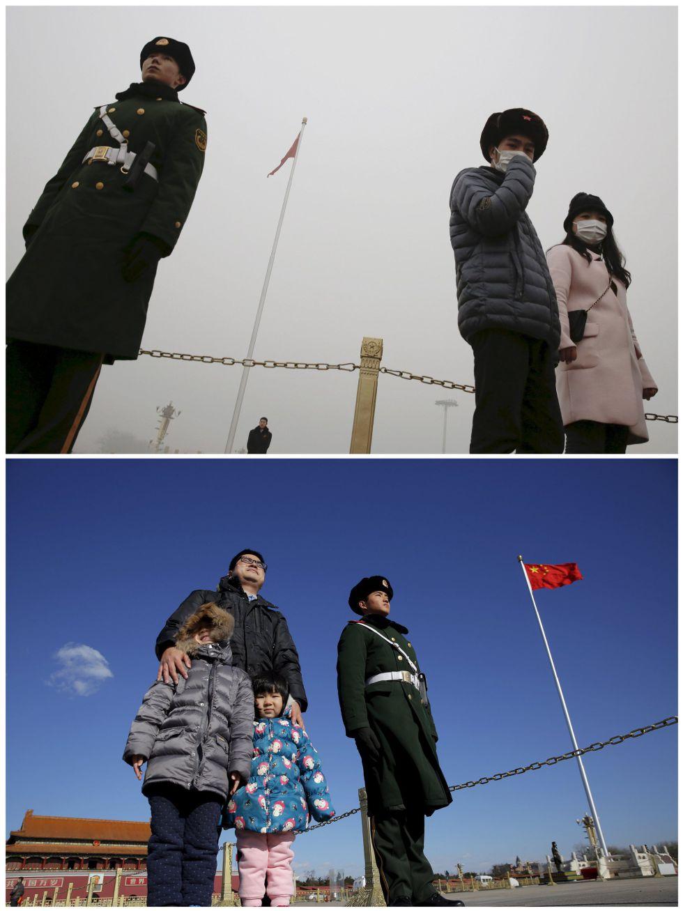 Parada militar en la plaza de Tiananmen bajo la contaminación y en un día soleado.
