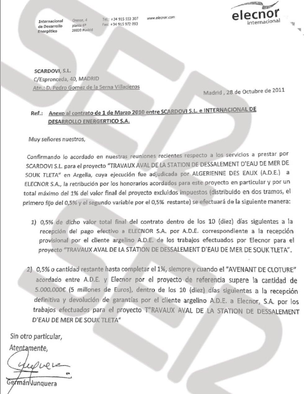 Comisión pactada con Elecnor por el contrato del sistema de canalización de aguas en Argelia.