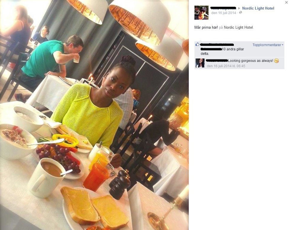 Imagen compartida en Facebook por una joven junto a su desayuno en el Nordic Light Hotel de Estocolmo (Suecia). El local acepta como moneda de pago la cantidad de amigos en Facebook, de manera que por 500 amigos hay un 5% de descuento; y un 100% por más de 2.000.