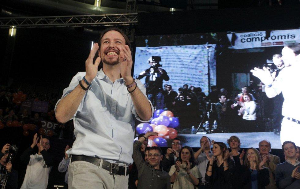 El candidato de Podemos a la Presidencia del Gobierno, Pablo Iglesias, cierra la campaña electoral en Valencia