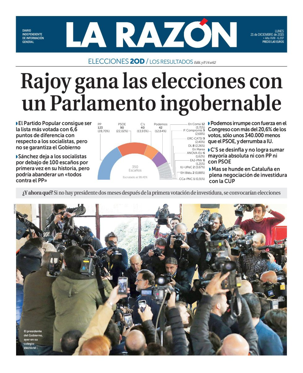 Portada de 'La Razón' del lunes 21 de diciembre de 2015.