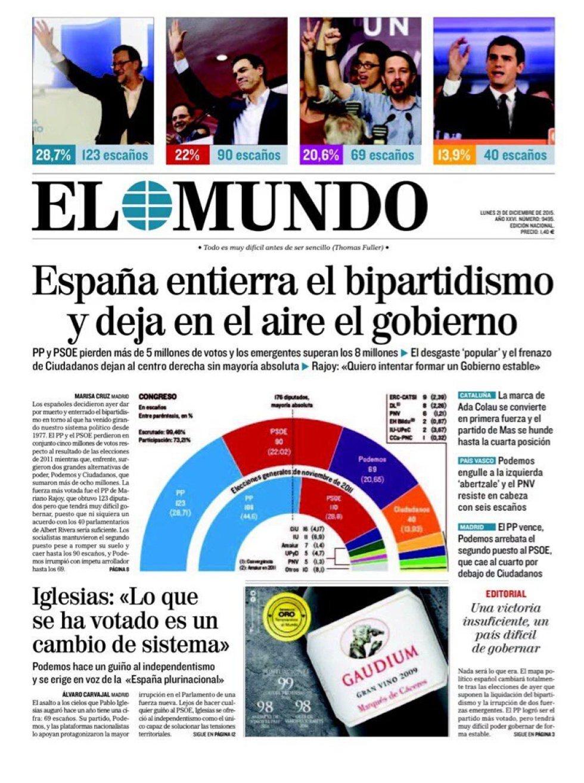 Portada de 'El Mundo' del lunes 21 de diciembre 2015.