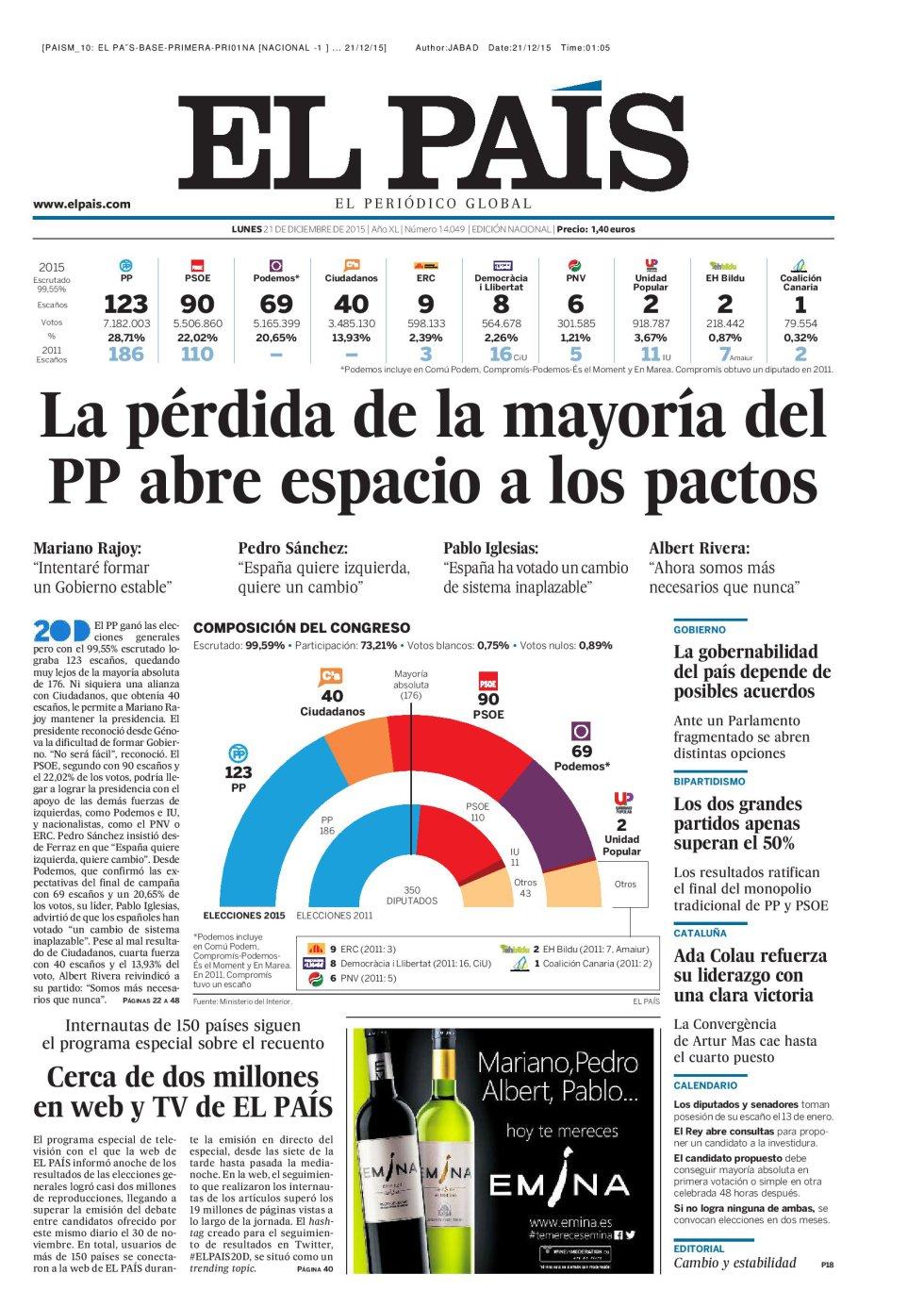 Portada de 'El País' del 21 de diciembre de 2015.