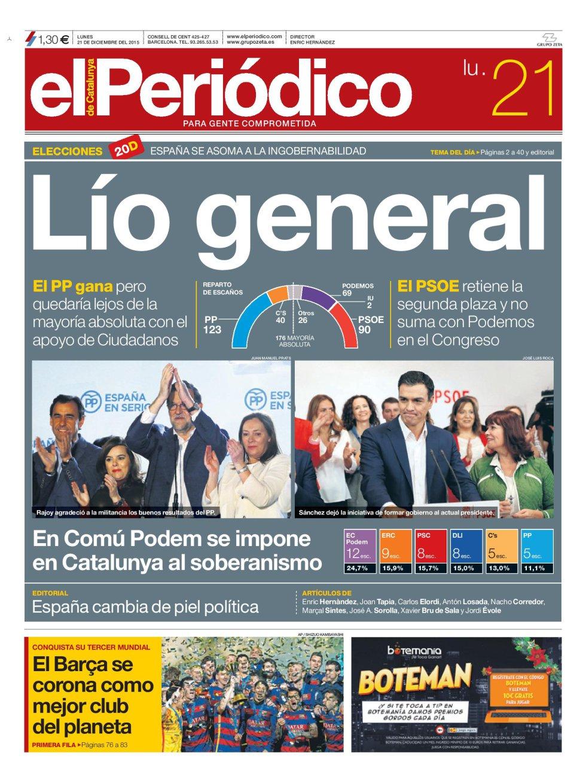 Portada de 'El Periódico' del lunes 21 de diciembre de 2015.