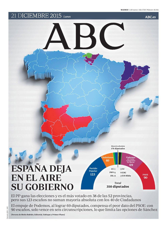 Portada de 'Abc' del lunes 21 de diciembre de 2015.