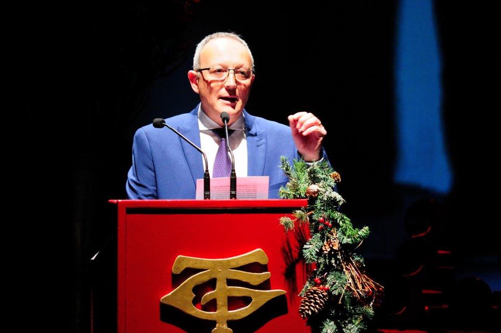 Miguel Doña en un momento del discurso inaugural de la gala