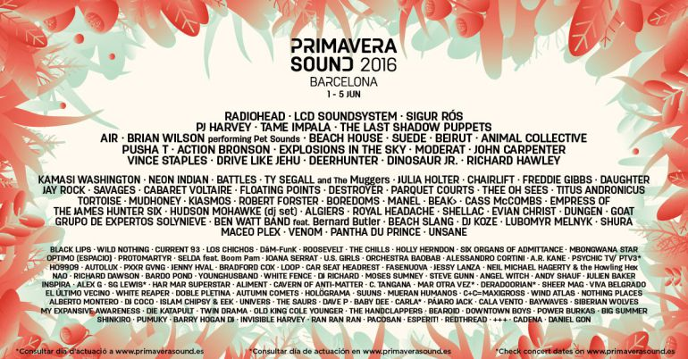 cartel del primavera sound 2016 primavera sound 2016 de radiohead