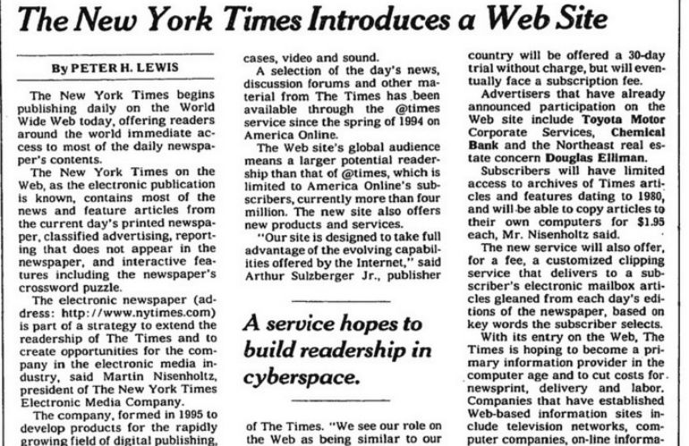 'The New York Times' anuncia el lanzamiento de su web.