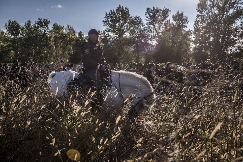 Fotografía de la serie ganadora de la categoría de noticias de actualidad de la 59 edición del World Press Photo, tomada por el fotógrafo ruso del New York Times Sergey Ponomarev. La fotografía muestra un grupo de migrantes caminando encima de un dique mientras la policía antidisturbios eslovena los acompaña al campo de registro de Dobova (Eslovenia).