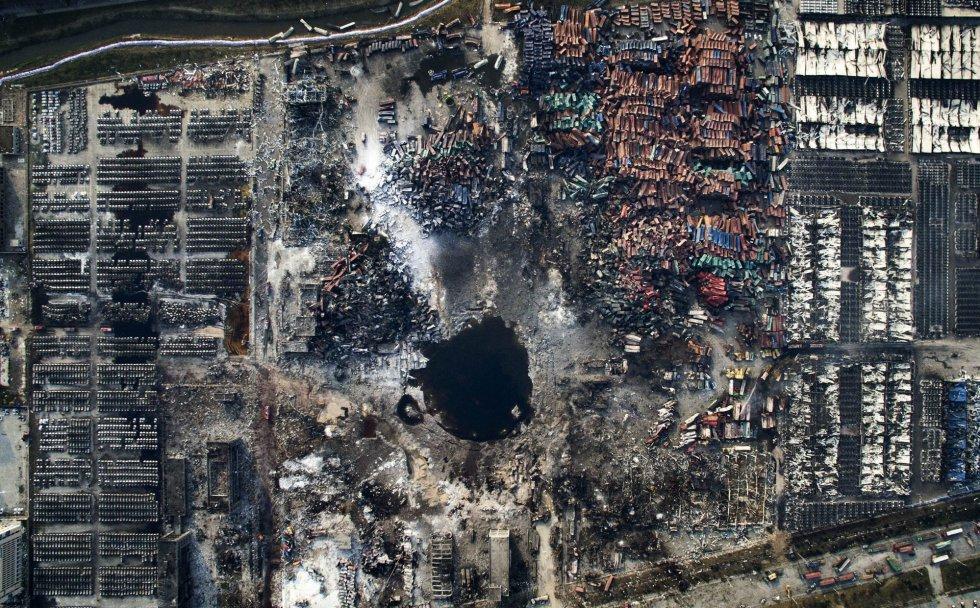 Fotografía ganadora del tercer premio de la categoría de noticias de actualidad de la 59 edición del World Press Photo, tomada por el fotógrafo chino Chen Jie. La fotografía muestra una vista aérea de la destrucción causada por la explosión de Tianjin (China) el 15 de agosto de 2015.