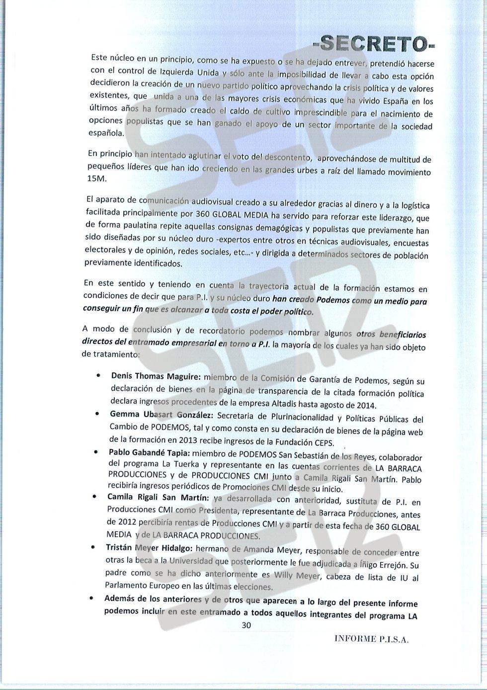 'Informe PISA' (Pablo Iglesias S.A.) de la UDEF.