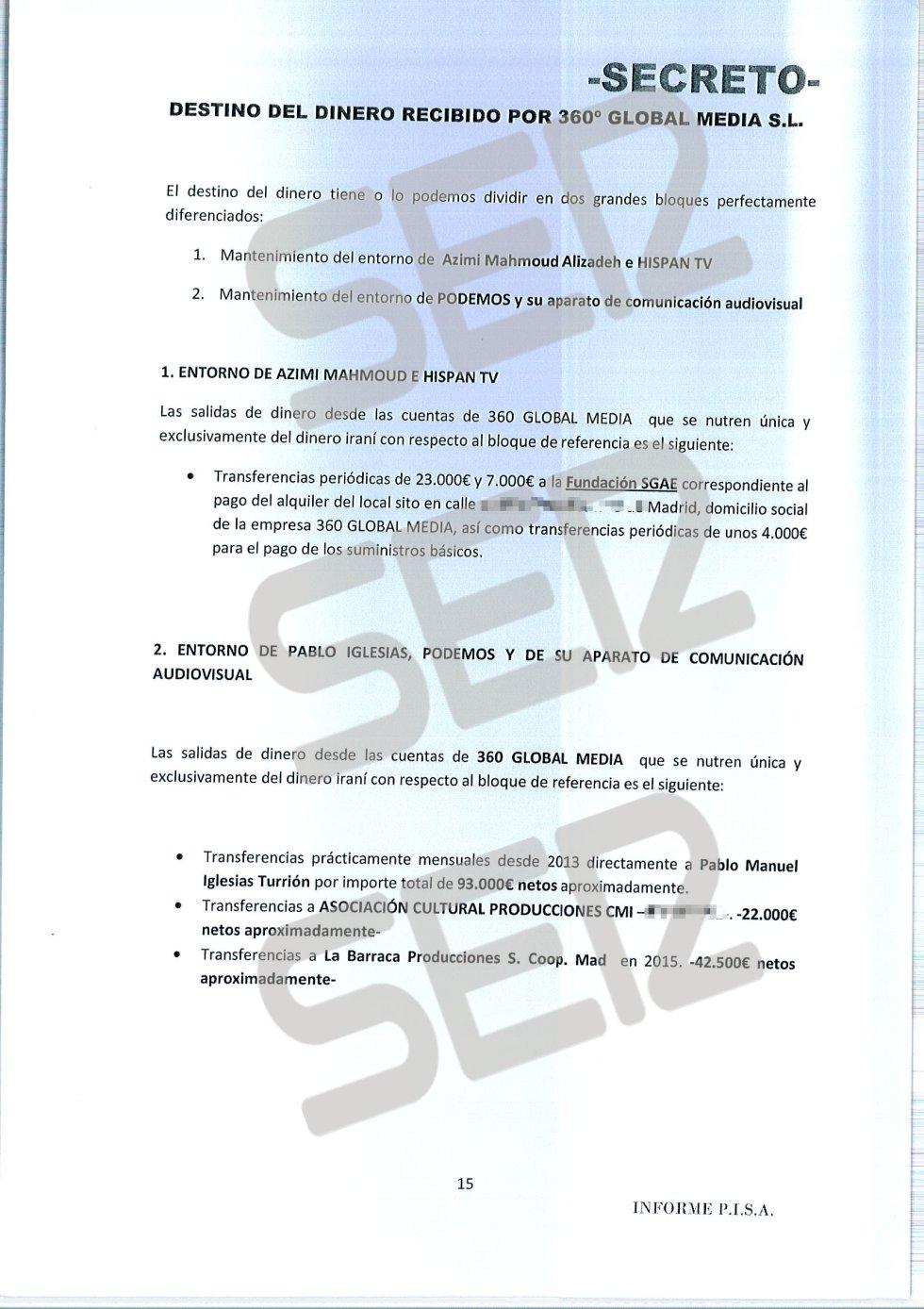 'Informe PISA' (Pablo Iglesias S.A.) de la UDEF