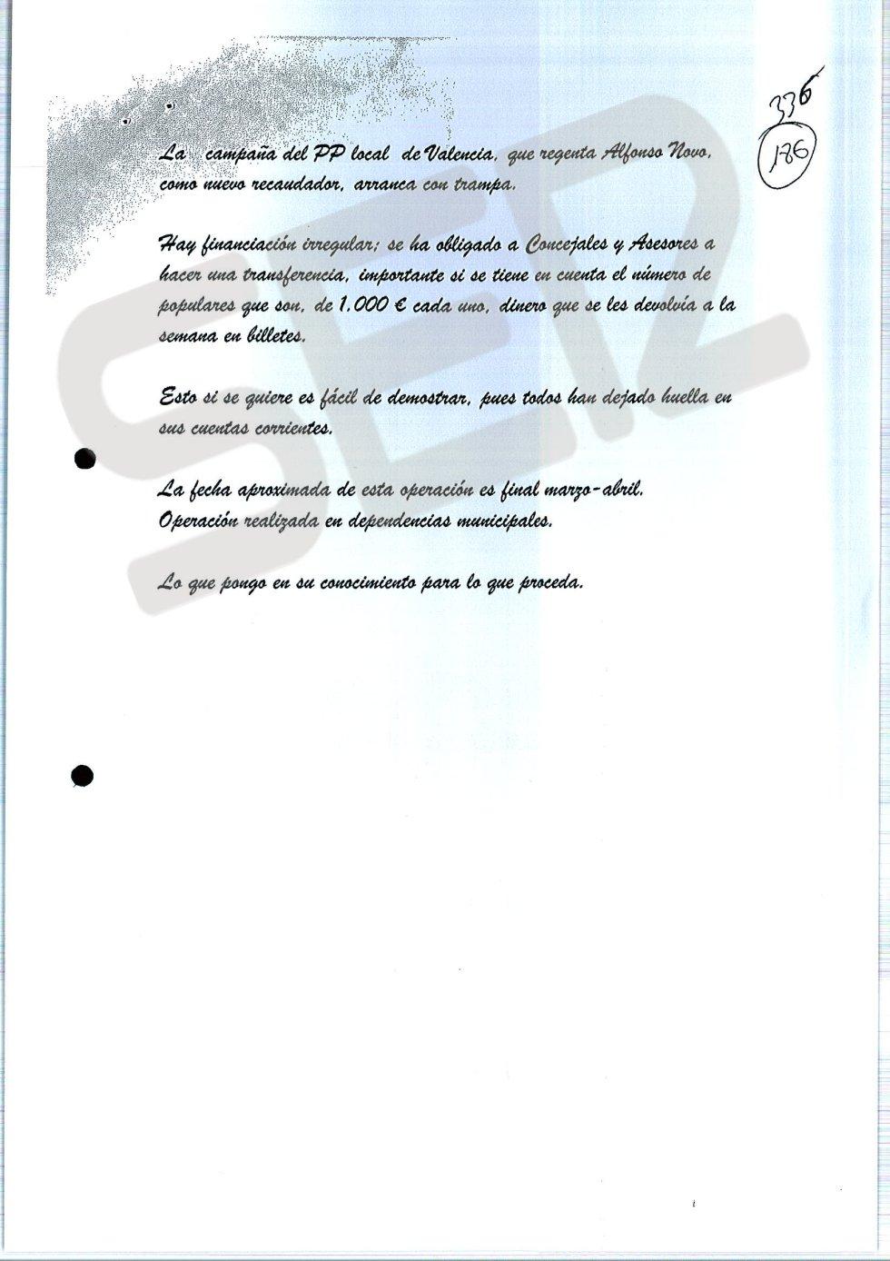 Nota anónima con la que comenzó a investigarse la operación Taula de presunta financiación ilegal en el PP de Valencia.