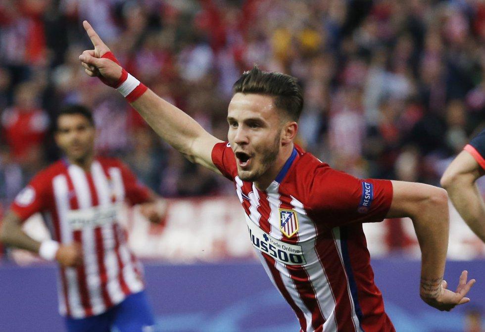Saúl celebra el primer gol del Atlético al Bayern