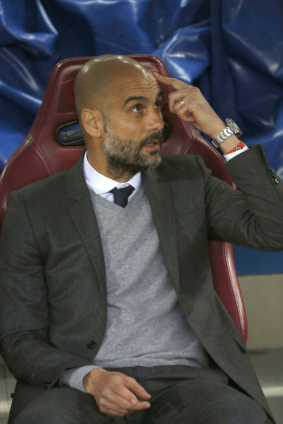 Guardiola, en el banquillo del Calderón
