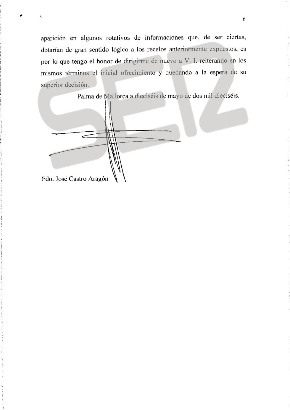 Carta íntegra de José Castro a Santiago Pedraz (página 6/6).