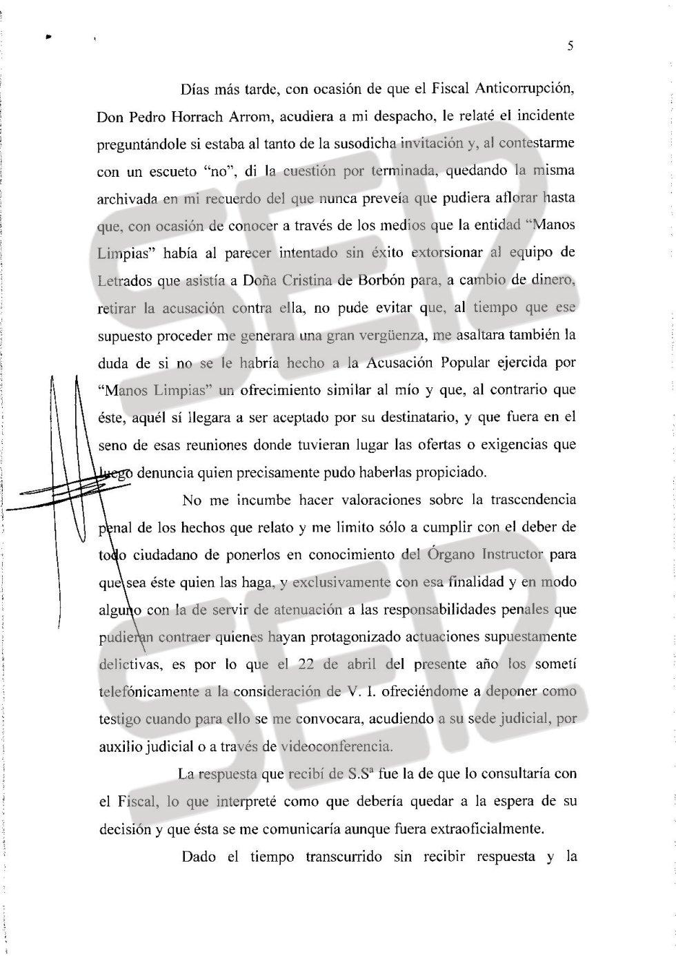 Carta íntegra de José Castro a Santiago Pedraz (página 5/6).