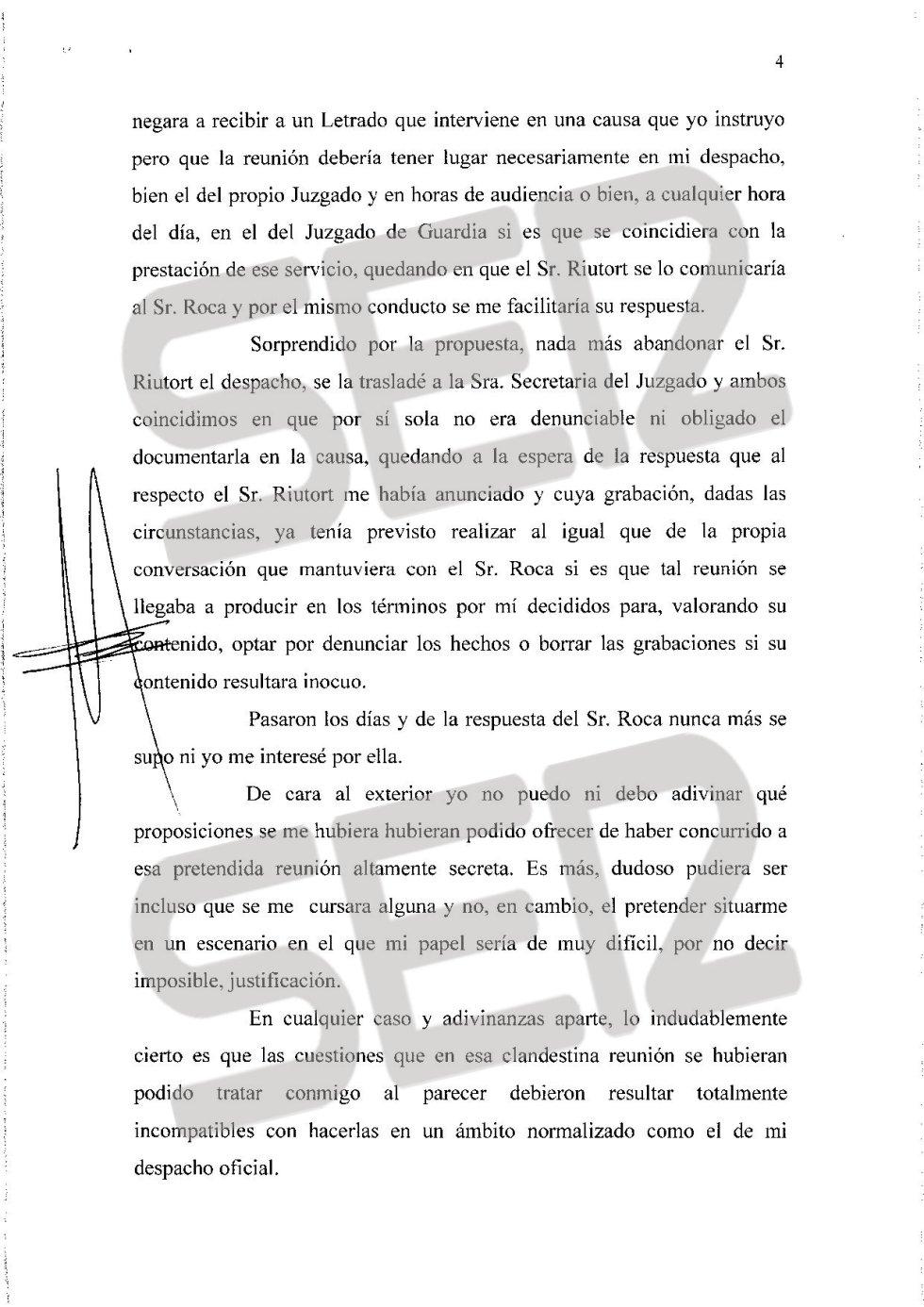 Carta íntegra de José Castro a Santiago Pedraz (página 4/6).