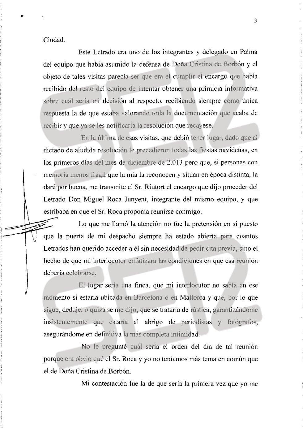 Carta íntegra de José Castro a Santiago Pedraz (página 3/6).