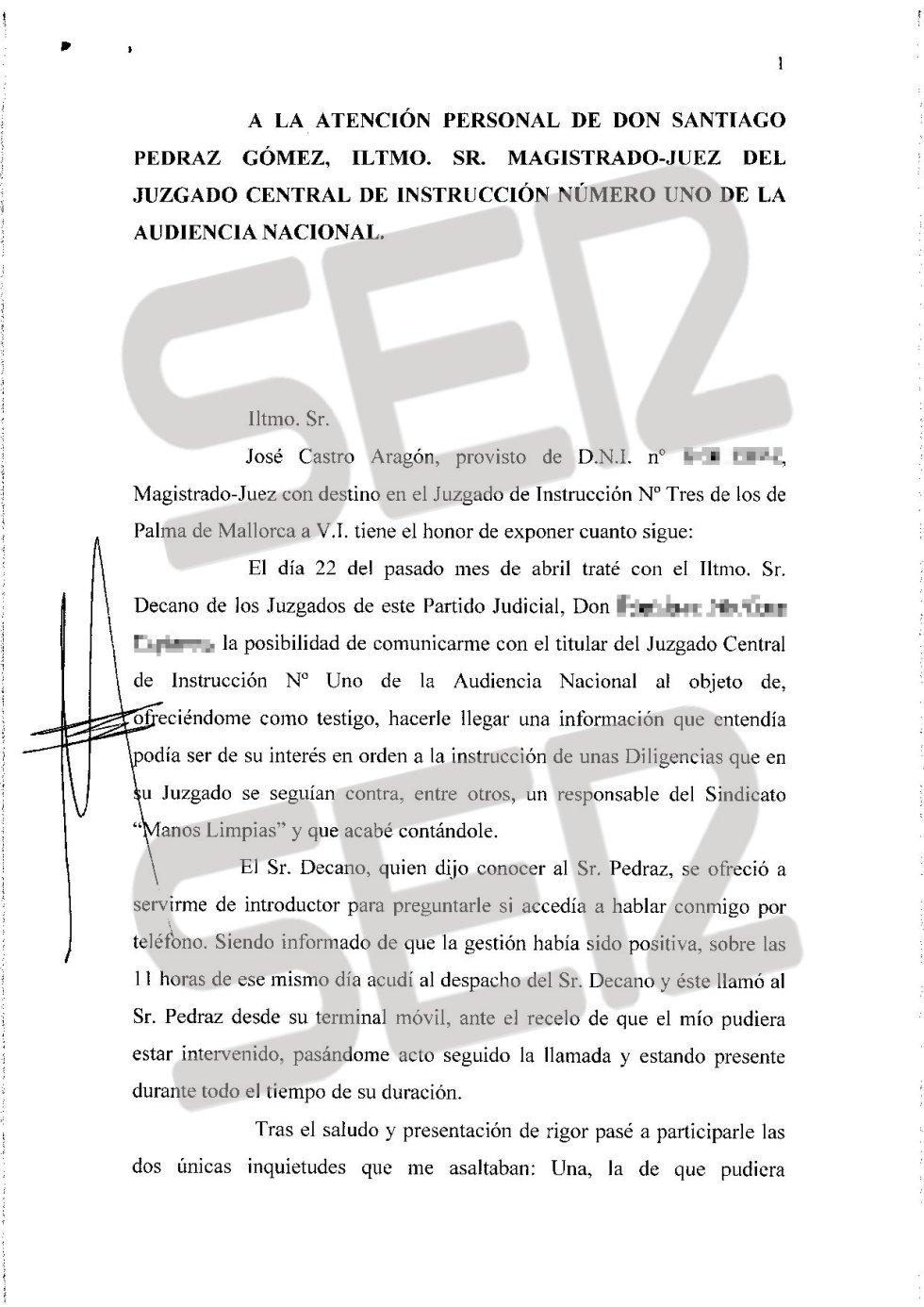 Carta íntegra de José Castro a Santiago Pedraz (1/6).