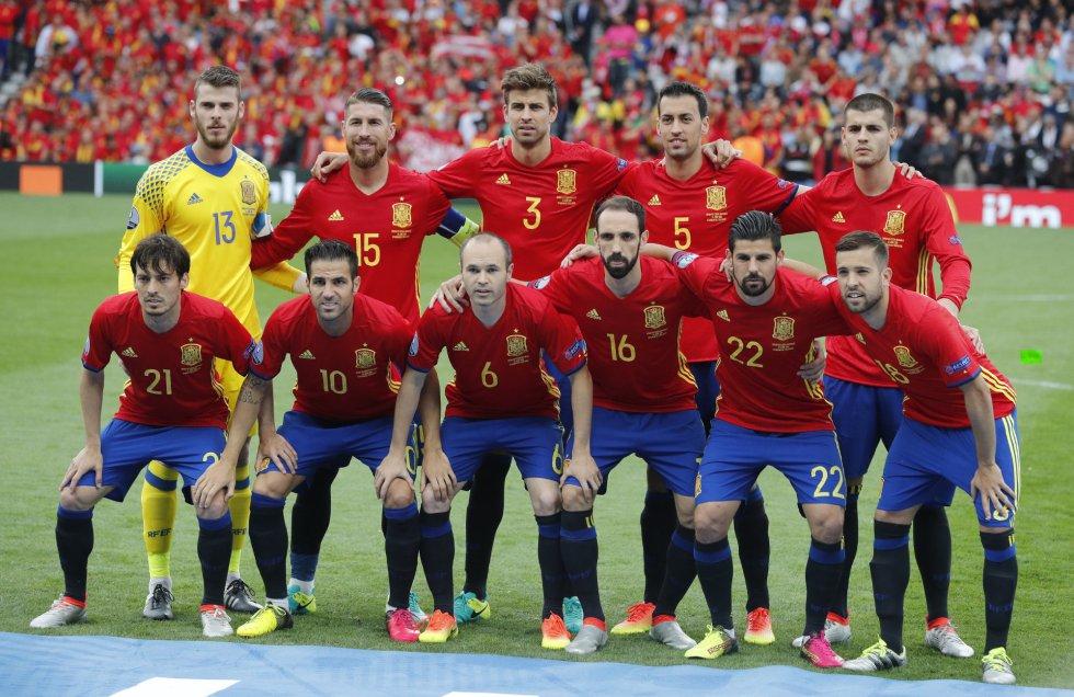 El once inicial de la selección española.