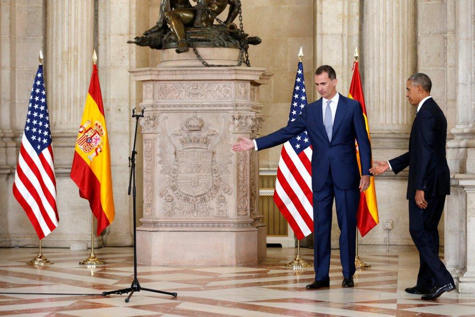 """En su discurso el monarca ha agradecido """"muy vivamente"""" al presidente estadounidense que haya mantenido la visita pese a lo sucedido en Dallas"""