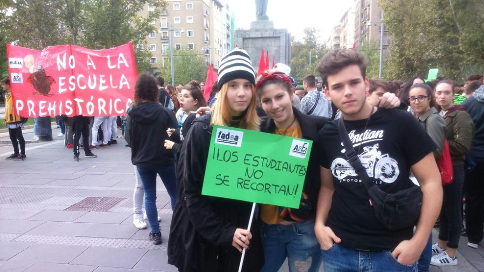 Protestas de estudiantes en Zaragoza.