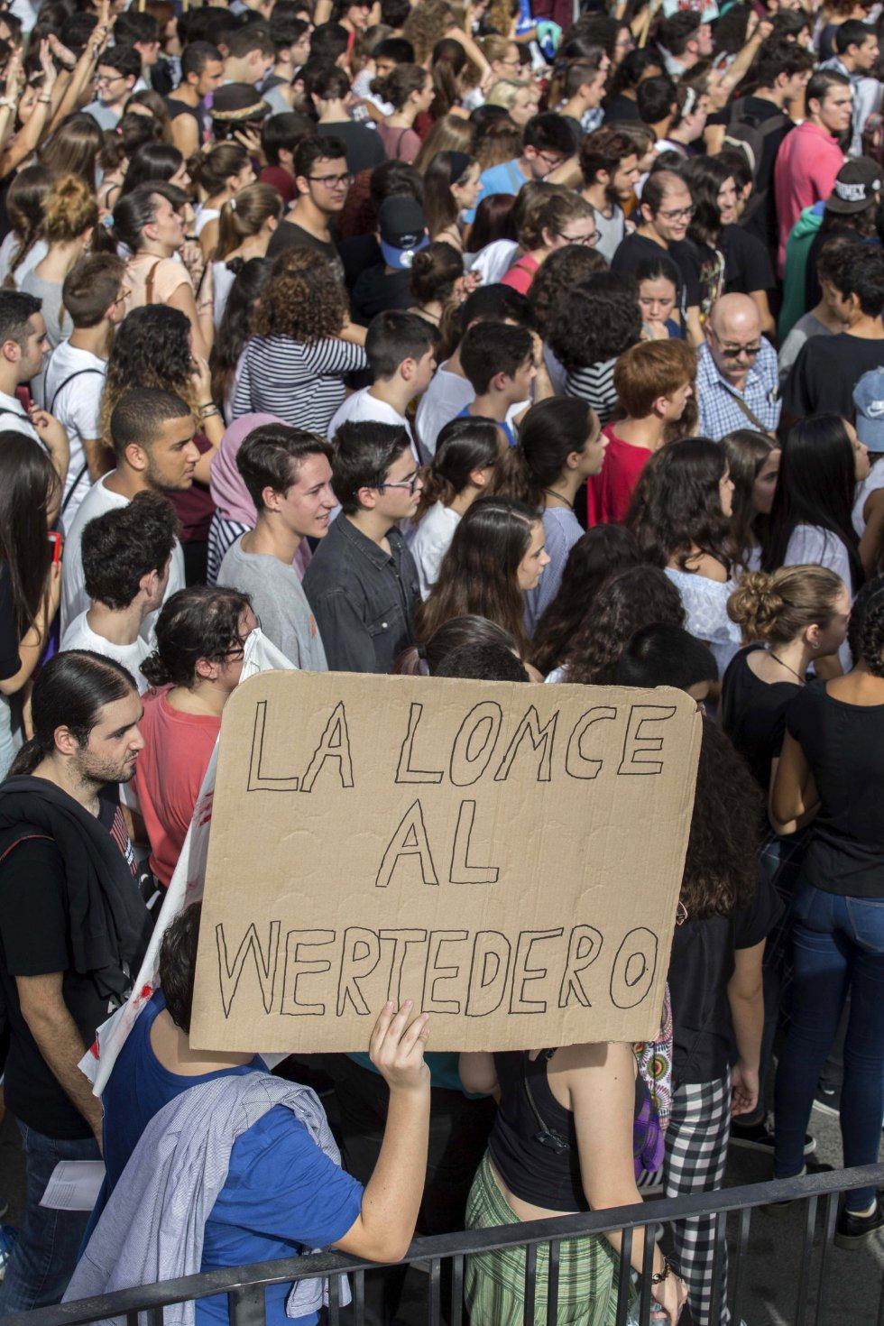 Algunos de los manifestantes que se han concentrado esta jornada frente a la Universidad de Murcia para protestar contra la Lomce, las reválidas y los recortes presupuestarios en educación.