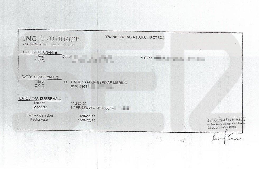 Justificante del cheque por valor de 10.000 euros a nombre de Espinar en concepto de señal por la compra del piso.