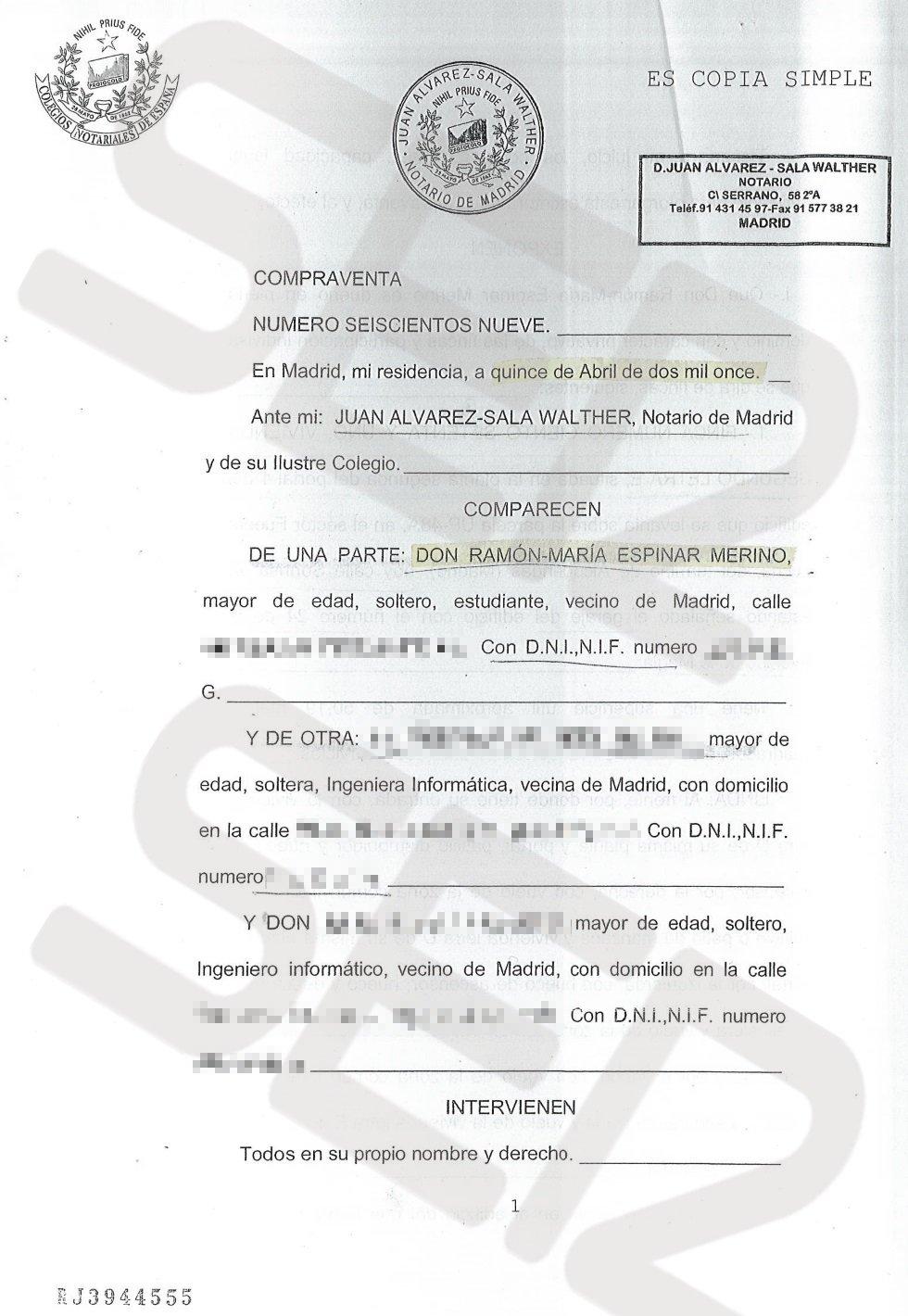 Copia simple de la escritura de compra venta con fecha 15 de abril de 2011.