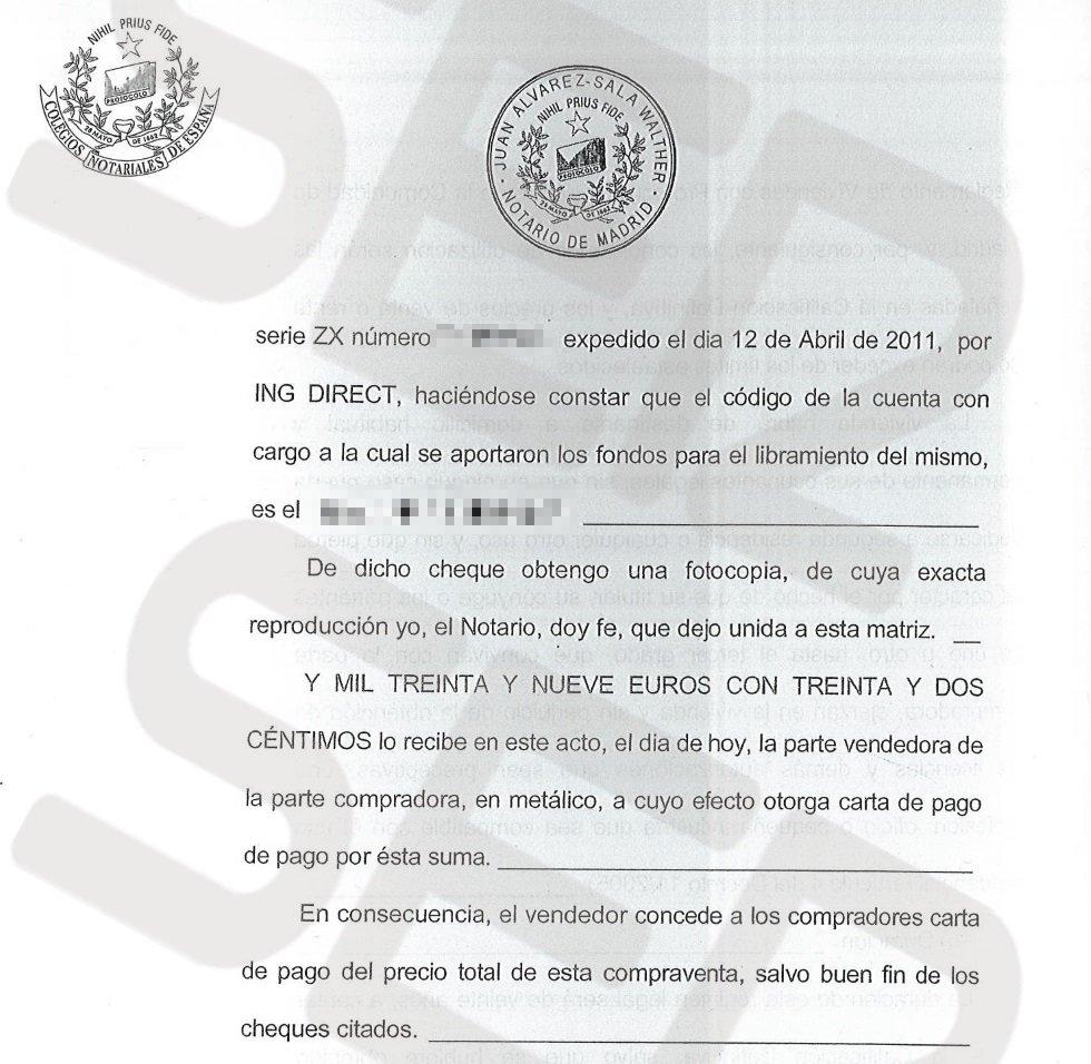 La venta se formalizó ante notario el 15 de abril de 2011.