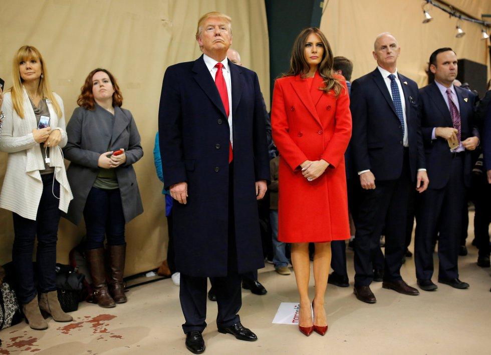 Donald Trump y su mujer en Iowa.