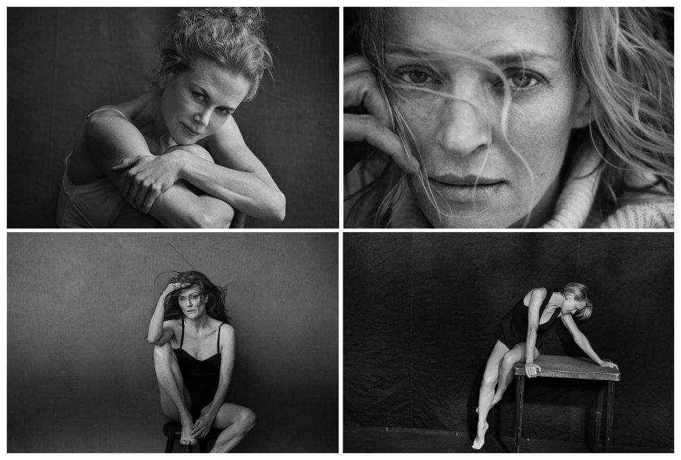 Combo de fotografías Nicole Kidman, Uma Thurman, Julianne Moore y Robin Wright, en su posado para la edición 2017 del famoso calendario de la compañía de neumáticos italiana Pirelli.