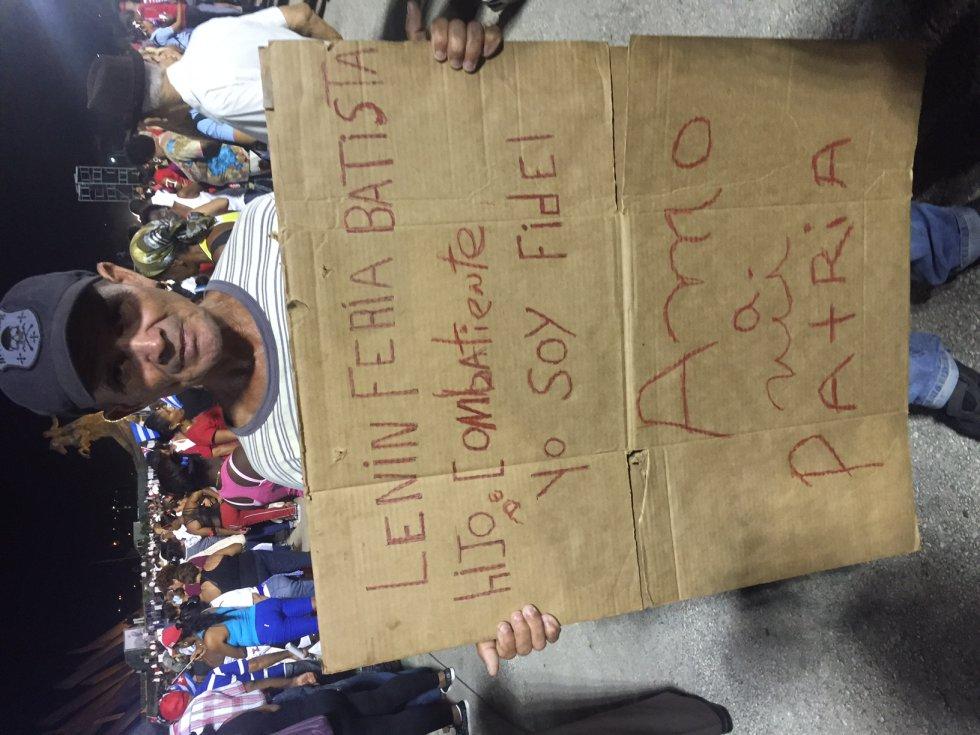 Pancarta de 'Yo soy Fidel', una de las más vista en los actos de homenaje.
