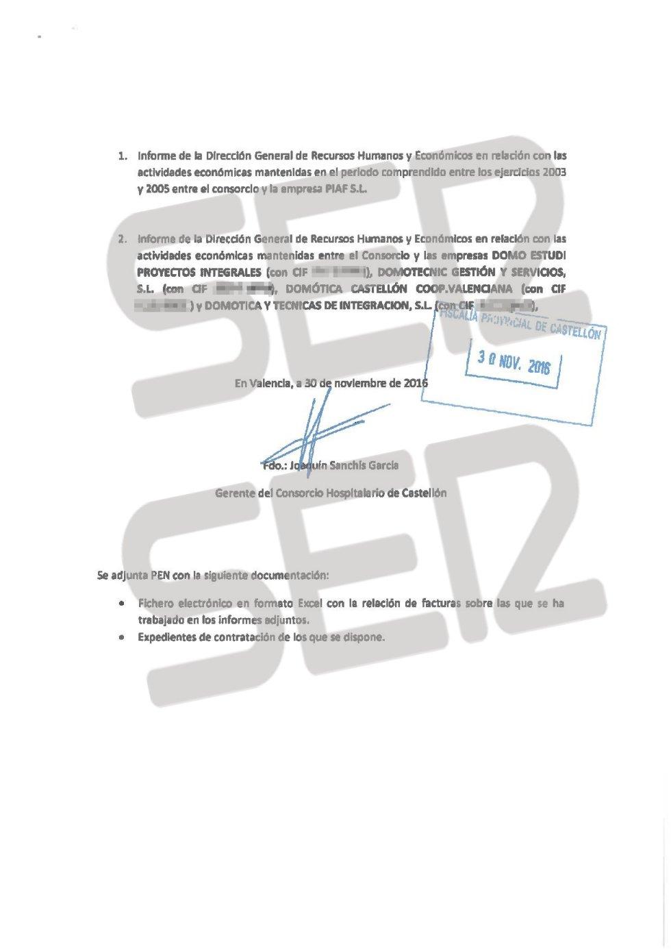 Denuncia de la Generalitat Valenciana presentada ante la Fiscalía (página 2 de 2).