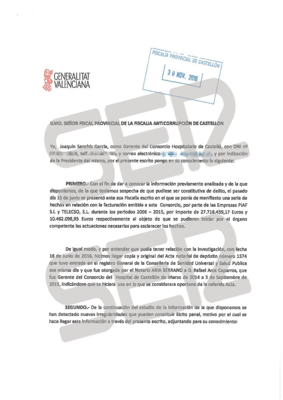 Denuncia de la Generalitat Valenciana presentada ante la Fiscalía (página 1 de 2).