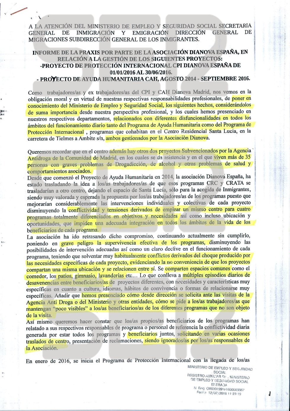 Informe enviado por los empleados de Dianova al Ministerio de Empleo
