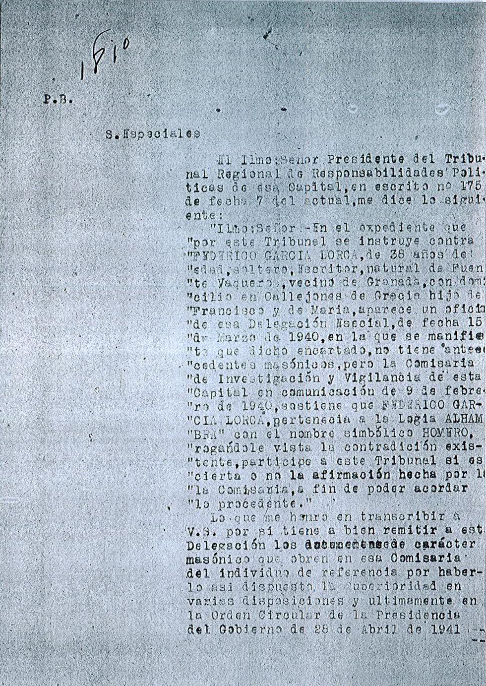 Los documentos de la investigación sobre Federico García Lorcatras su muerte