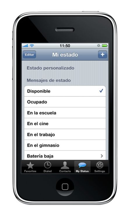 Estados de WhatsApp en 2009.