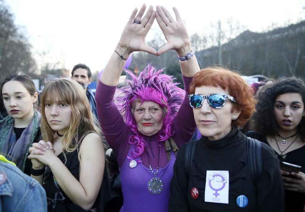 Una de las asistentes, disfrzada en la marcha de Madrid