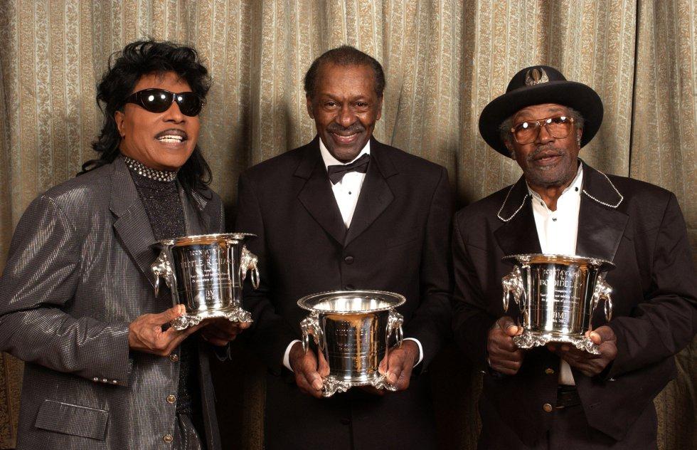 Little Richard, Chuck Berry y Bo Diddley, en 2002 en Beverly Hills, California.