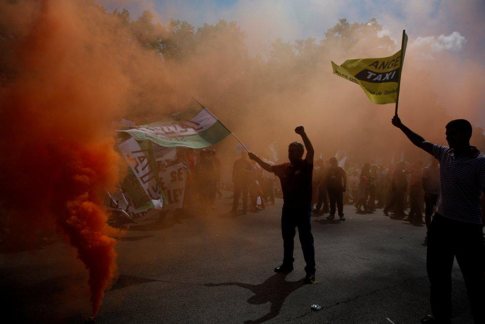 Mucho humo durante la protesta
